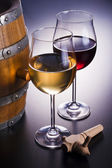 Delicious wines, wooden barrel and spigot. — Stock Photo