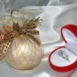 Christmas sphere and ring with brilliants — Stock Photo