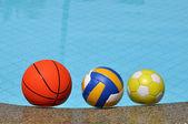 Balls in pool water — Foto de Stock