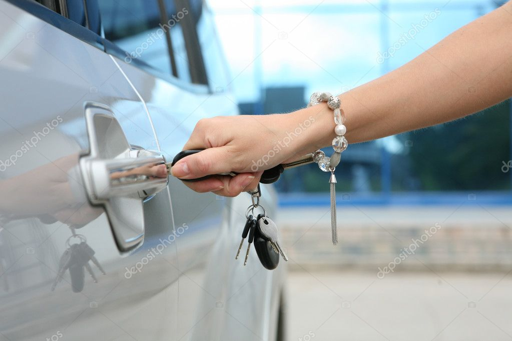 Handle electronic car key in closeup  Stock Photo #4365080