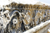 Ancient marble ruins with ornamental decoration. Hierapolis - Pa — Stock Photo