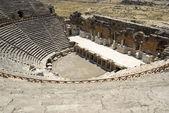 Amphitheater in ancient city Hierapolis. Pamukkale, Turkey. Midd — Stock Photo