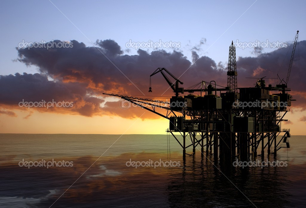 Oil Rig at late evening — Stock Photo #4320933