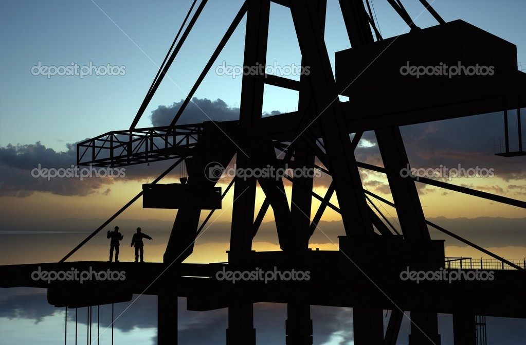 Group of the builders on the building crane — Stock Photo #4320976