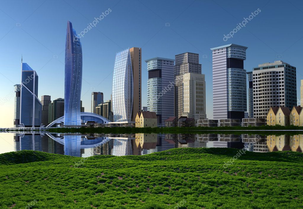 Sky-scrapers of modern city ashore — Stock Photo #4355205