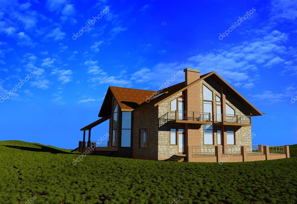 Modern cottage on a background of green grass  Stock Photo #4436694