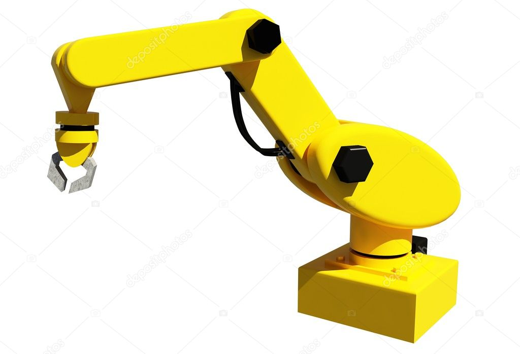 Yellow robotic arm for industry isolated on white  Stock Photo #4645400
