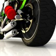 Motor cycle on a mirror background — Stock Photo