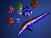 Ballons bei sonnenuntergang — Stockfoto