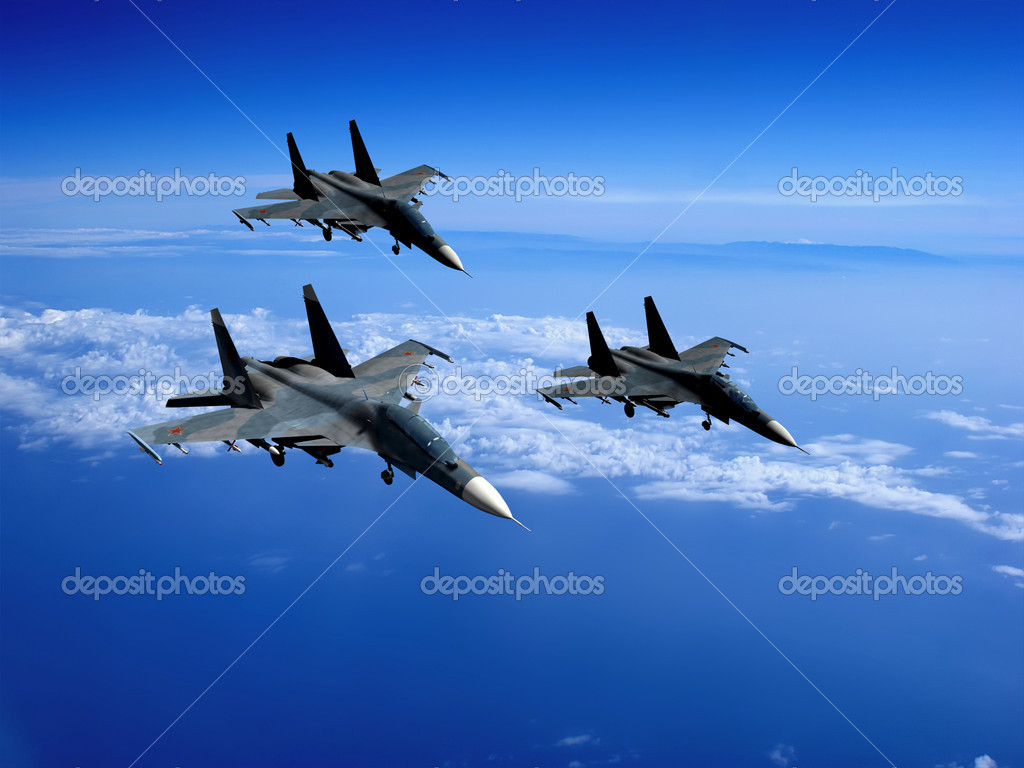 With military planes against the sky — Stock Photo #4986124