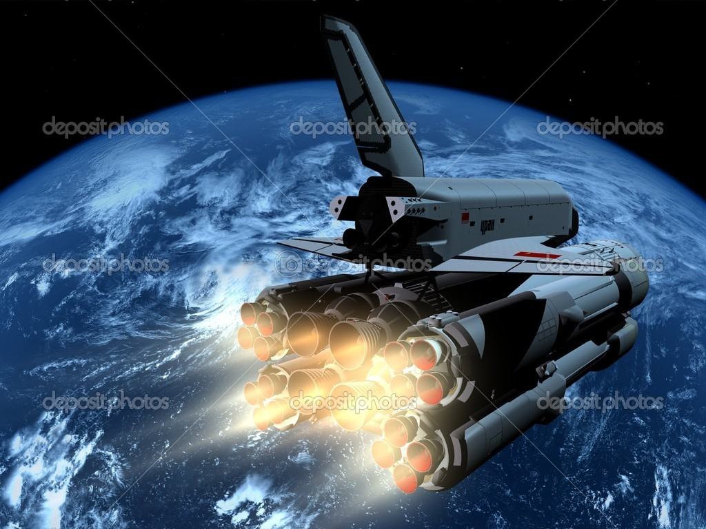 The space ship on a background of a planet    Stock Photo #4986533