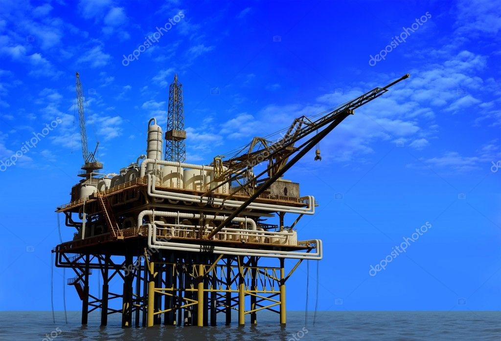 Dabycha oil into the sea from above. — Stock Photo #5108991