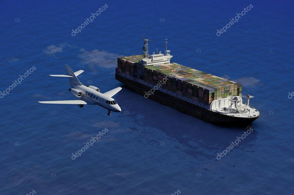 The cargo ship and plane on a background of the sea — Stock Photo #5279751