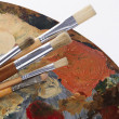 Paintbrushes and palette — Stock Photo