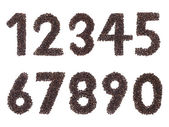 Number made with a coffee grain — Stock Photo