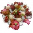 Fruit arrangement – Litchi - Dragon Fruit — Stock Photo