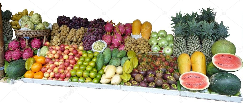south fruits, market, tropical fruits, fruit exotic, combination, colorful — Stock Photo #4512093