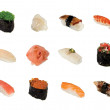 Stock Photo: Collection of sushi isolated on white background