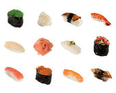 A collection of sushi isolated on a white background — Stock Photo