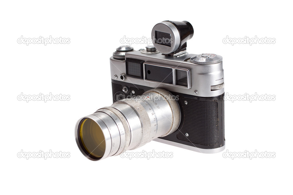 Old black 35mm SLR camera isolated on white — Stock Photo #4677456