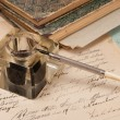 Vintage background with old paper, old ink pen, handwrite letter — Stock Photo