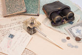 Vintage background with old paper, old ink pen, handwrite letters, binocula — Stock Photo