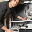 System administrator near server — Stock Photo