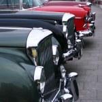 Постер, плакат: Vintage cars bonnets line