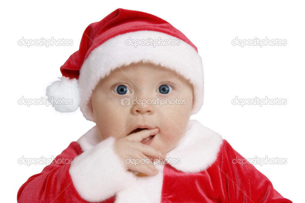 Baby in Santa uniform in utter surprise, white background  — Stock Photo #4411760
