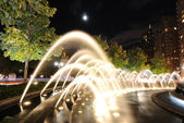 Fountains at Columbus Cirlce at Night — Stock Photo