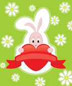 Valentine Card With Rabbit — Stock Vector