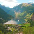 Nice View to the Atlantic ocean, Geiranger fjord, Norway - Stock Photo
