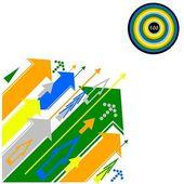 Inny styl strzałki w różnych kolorach i jeden cel, prezentacja bac — Zdjęcie stockowe