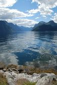 View over the fjord sunnylvsfjorden in Norway, More og Romsdal — Stock Photo