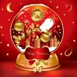 Royalty-Free Stock Imagen vectorial: Vector red snowglobe