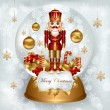 Christmas snowglobe with Nutcracker — Stock Vector