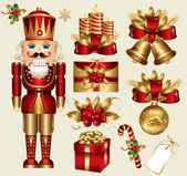 Vector set: traditional christmas elements — Stock Vector