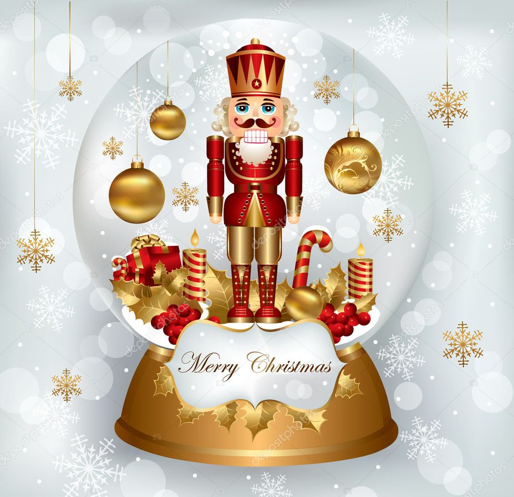 Christmas snowglobe with Nutcracker  — Stock Vector #4305581