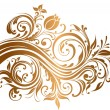 Beautiful gold ornament with flowers and curls — Stock Vector #4387417