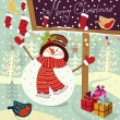 Vector illustration: snowman with gifts — Vettoriali Stock