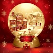 Vector christmas snow globe with town — Vector de stock