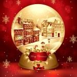 Vector christmas snow globe with town — Stock Vector