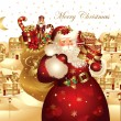Christmas banner with Santa Claus - Image vectorielle