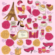 Vector Collection symbols of Paris — Stock Vector