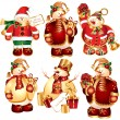 Royalty-Free Stock Obraz wektorowy: Vector set of snowmans with gifts