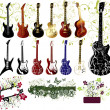Vector collection of guitars and ornaments — Stock Vector