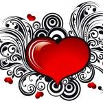 krásné pohlednice s lesklým srdce — Stock vektor