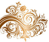 Beautiful gold ornament with flowers and curls — Stock Vector