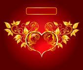 Hermosa tarjeta con corazón brillante — Vector de stock