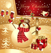 Vector illustration: snowman with gifts — Stockvector